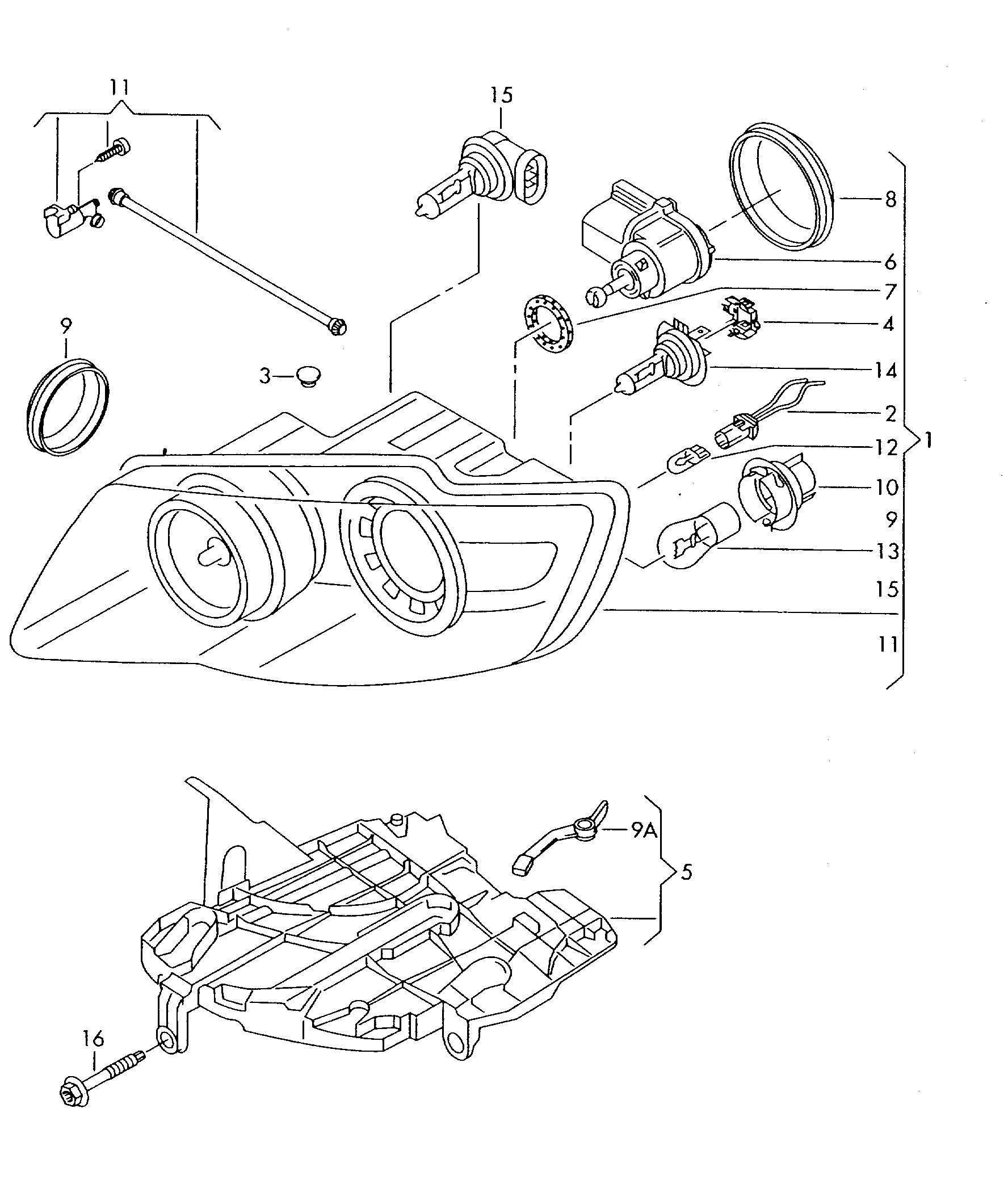 Volkswagen Touareg Mounting For Headlamps Headlight