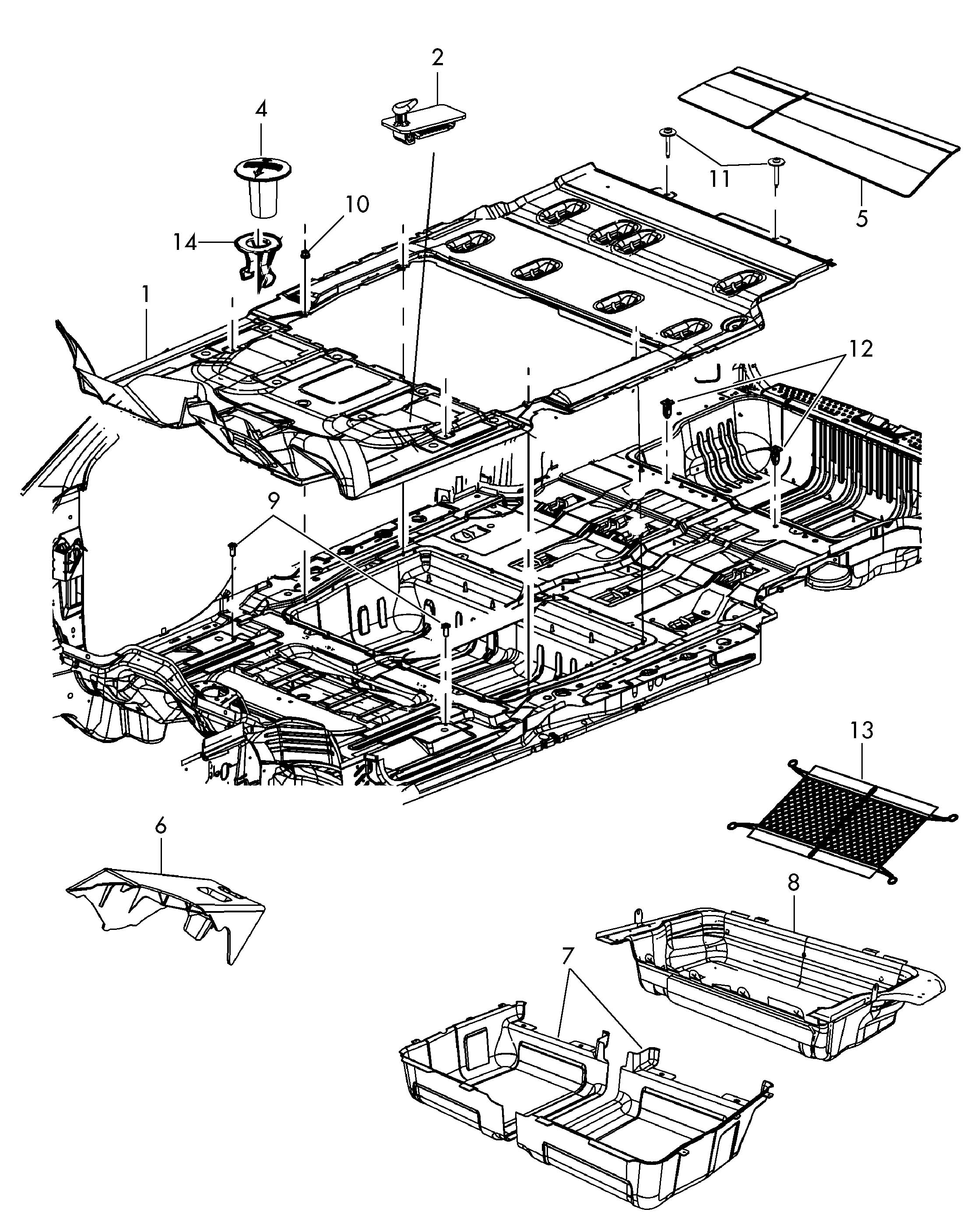 Volkswagen Routan Retaining clip guide for spare tire