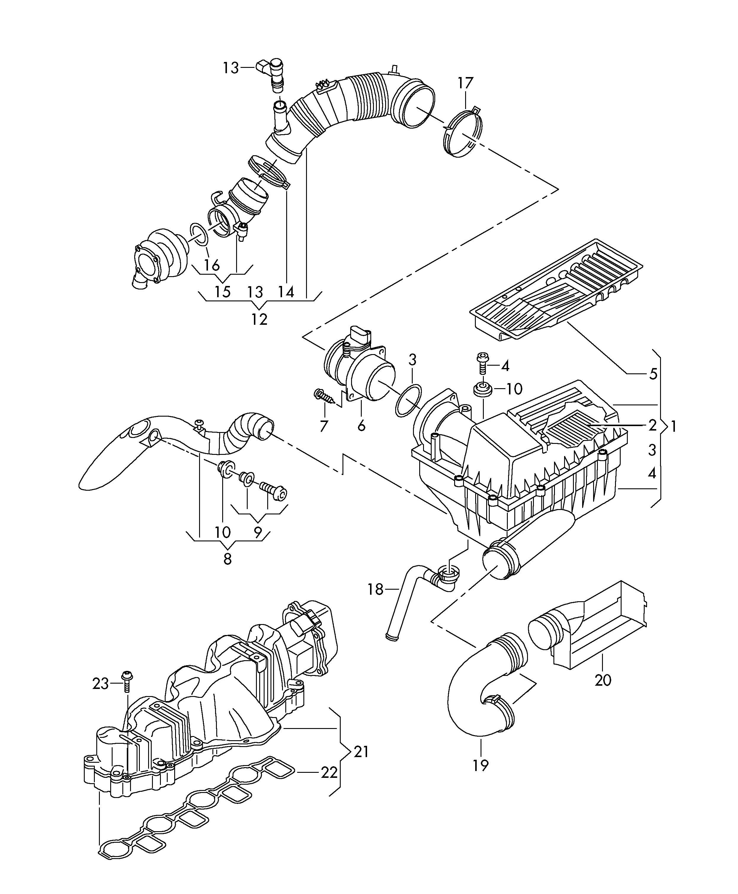 Volkswagen Golf Intake manifold. CBAB, CBAACBAB, CBAA