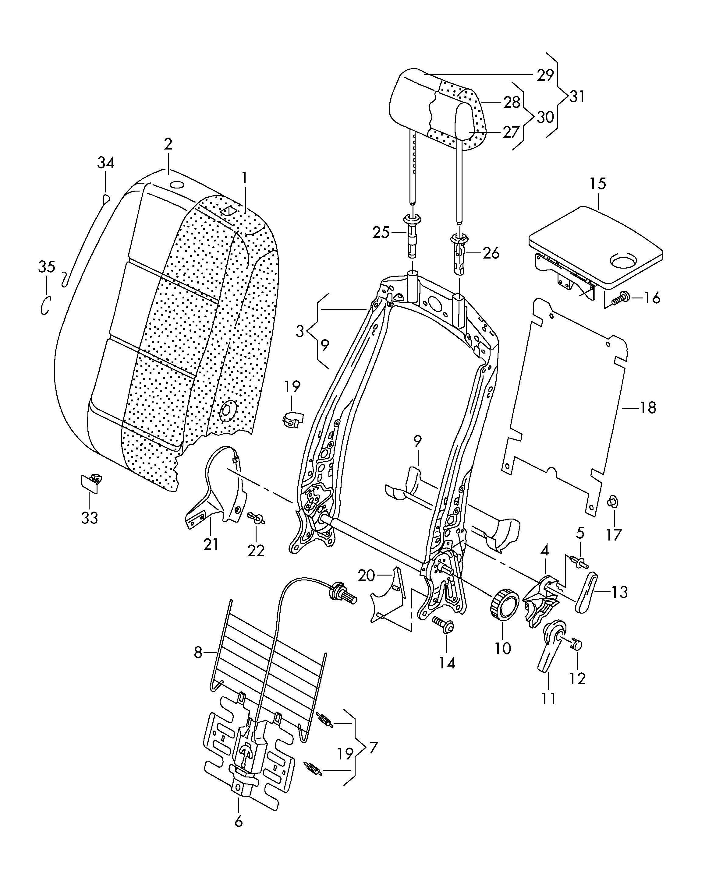 Volkswagen Tiguan Lumbar support. BACKREST MAT. BACK