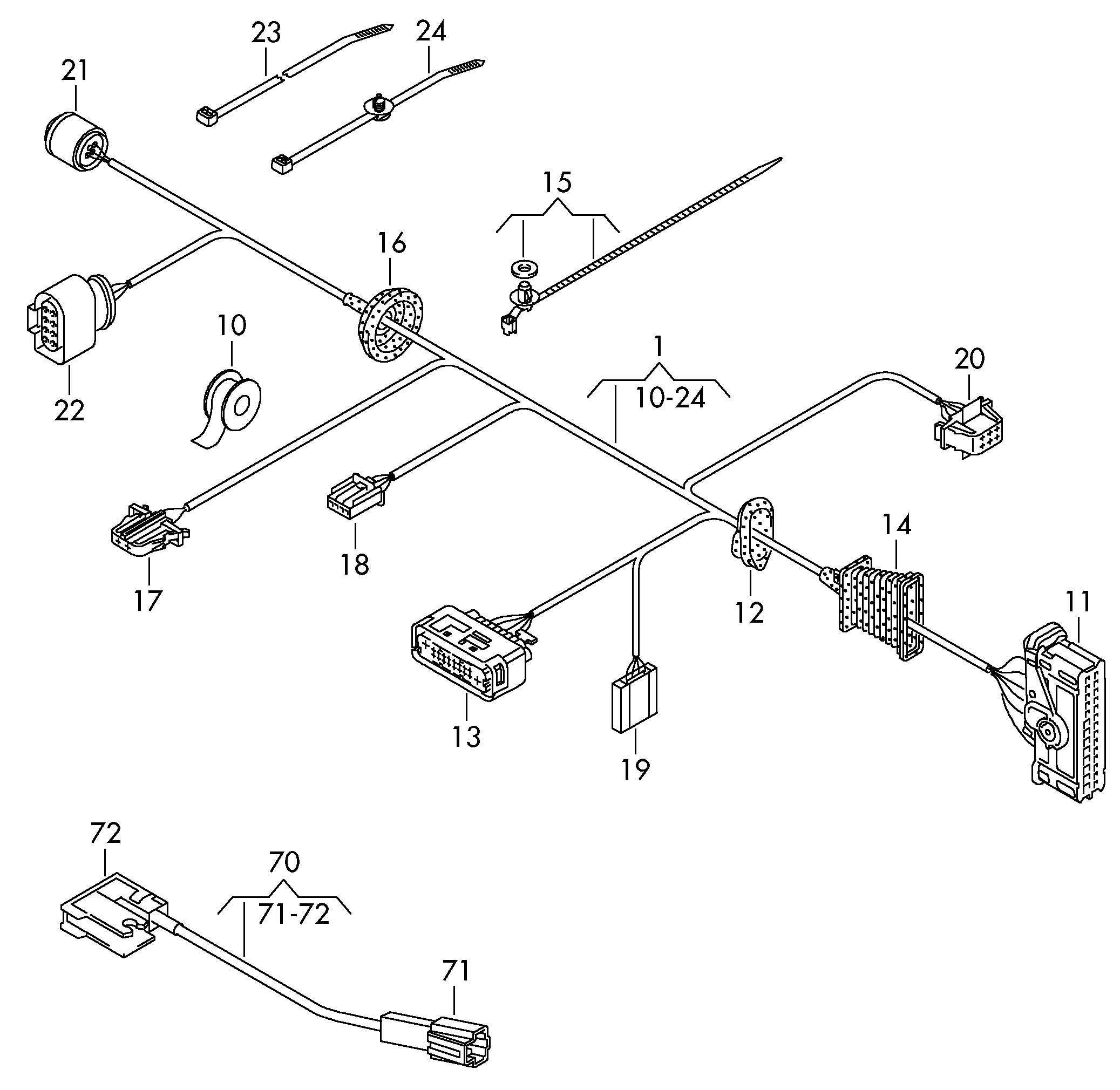 2010 Volkswagen Passat CC Adapter wiring harness harness