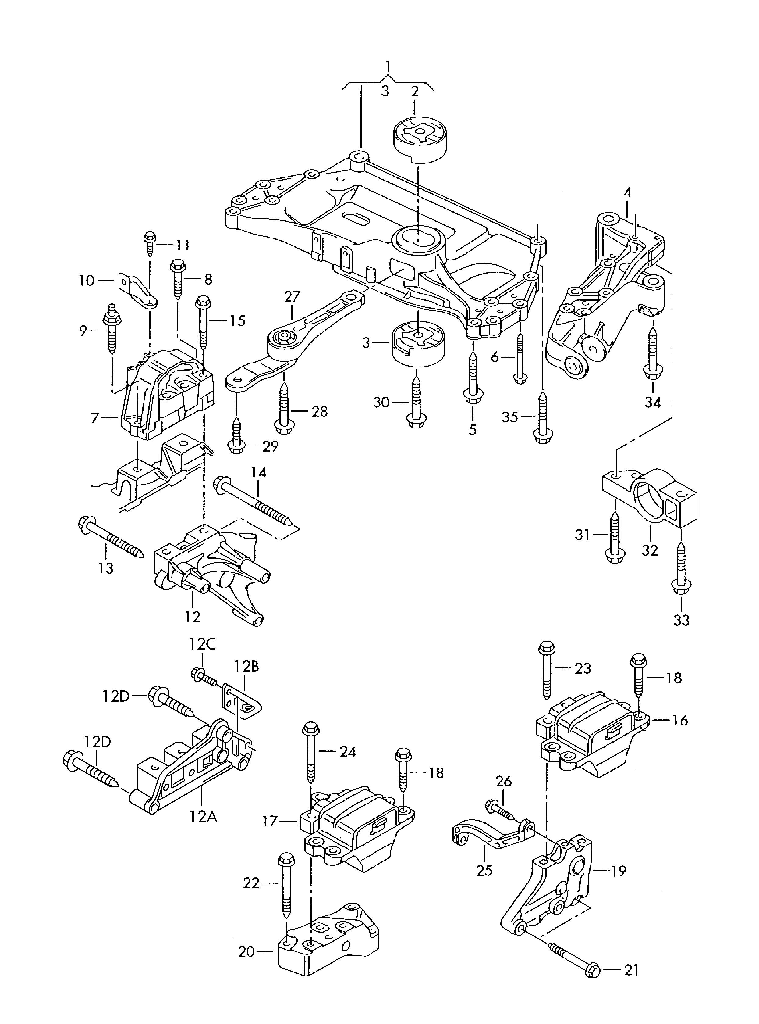2012 Volkswagen Gearbox mounting. CLCA, CDAA, CBDC