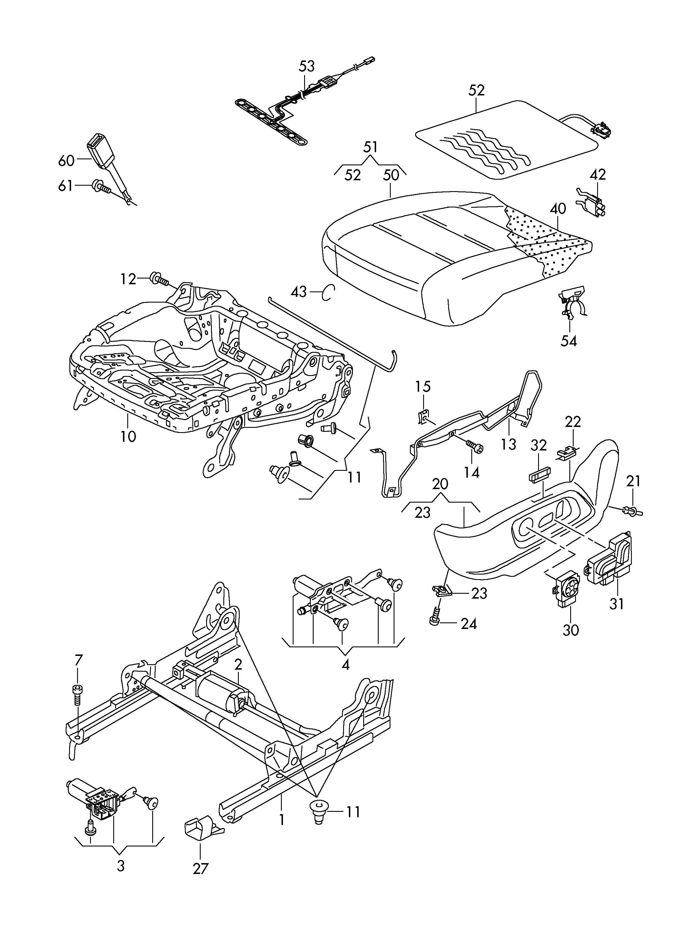 Volkswagen Tiguan Cushion frame bolt. Screw. Seat Adjuster