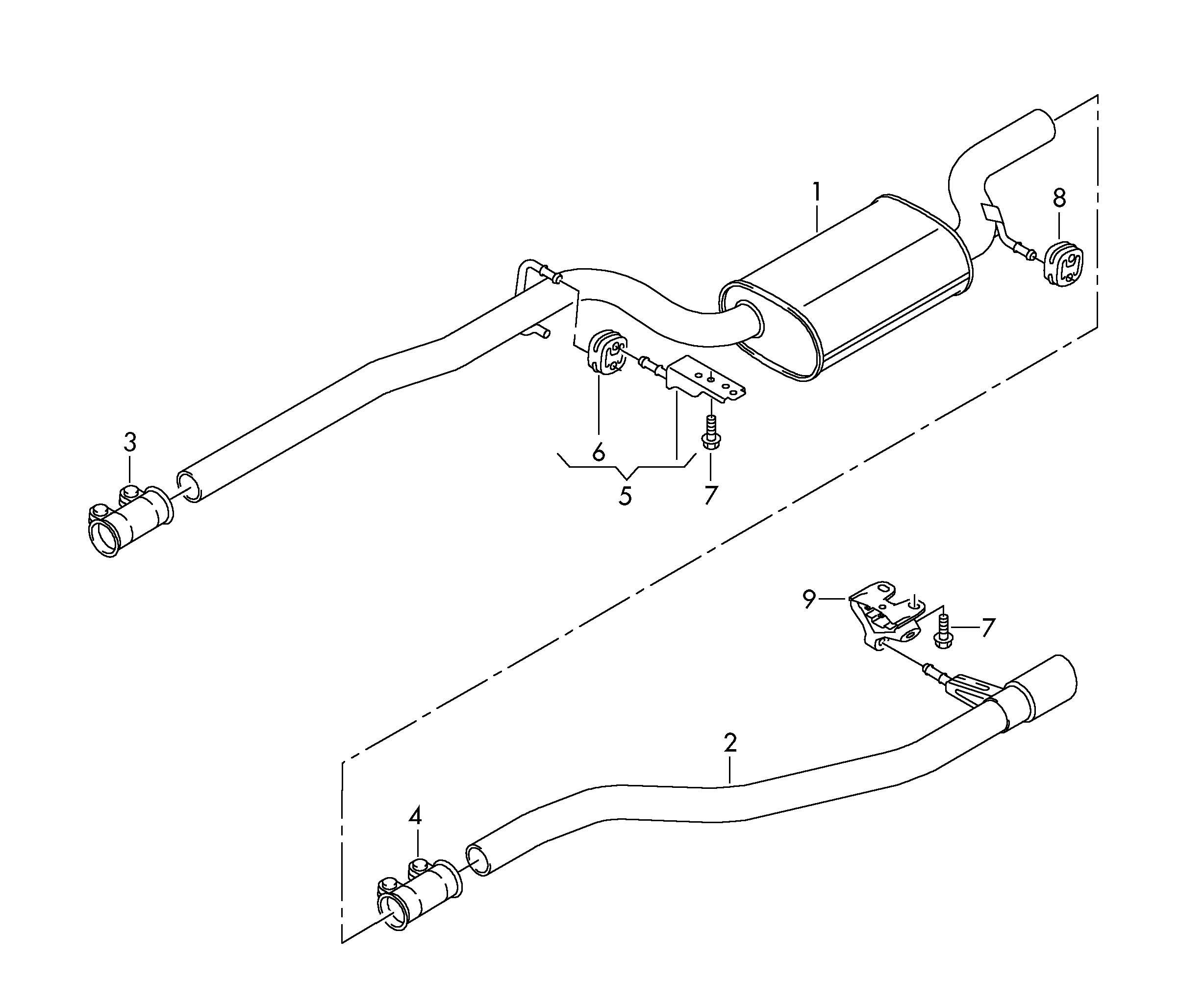 Volkswagen Passat CC Retaining ring exhaust silencer, rear