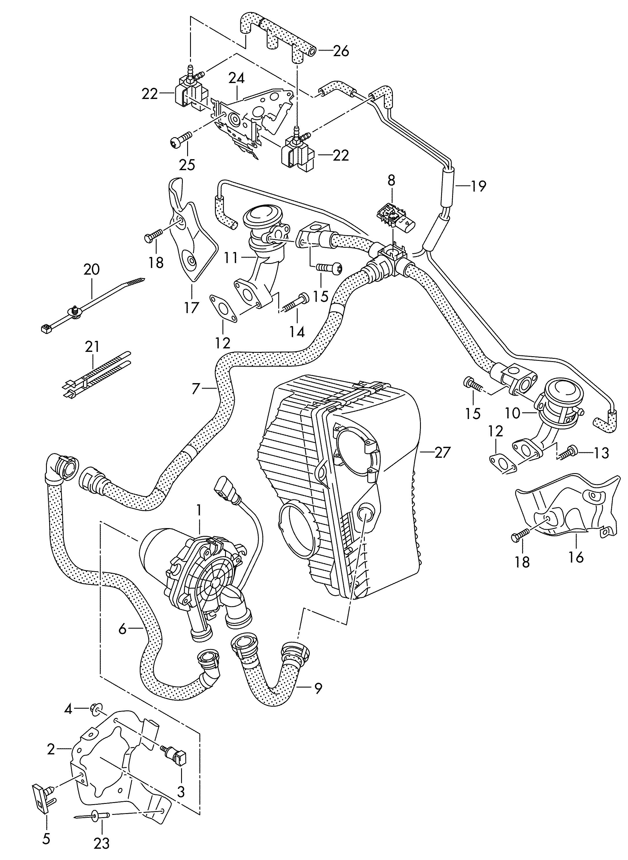 Volkswagen Touareg Vacuum Hoses With Connecting Parts