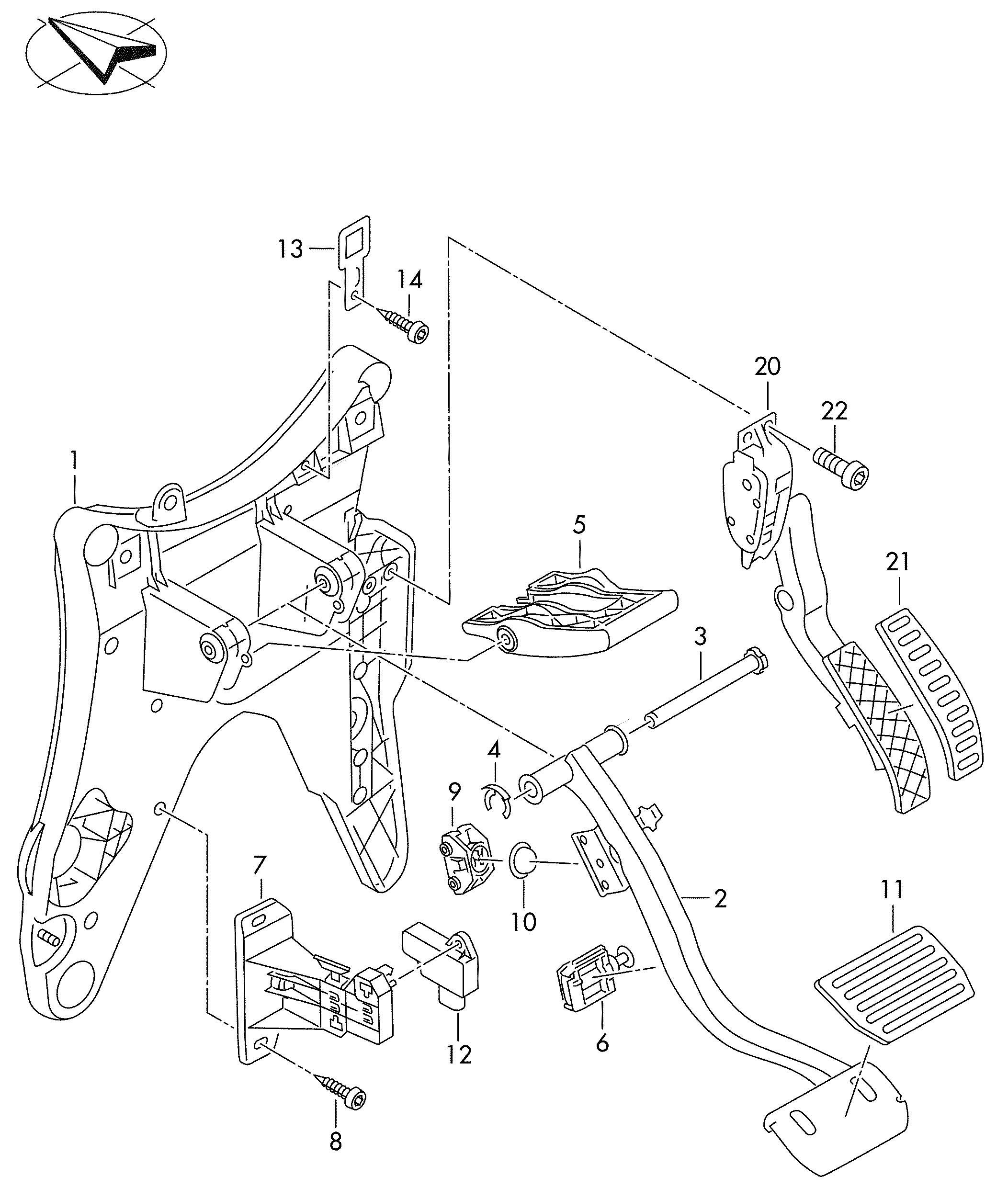 Volkswagen Touareg Brake And Acc Pedal Assembly