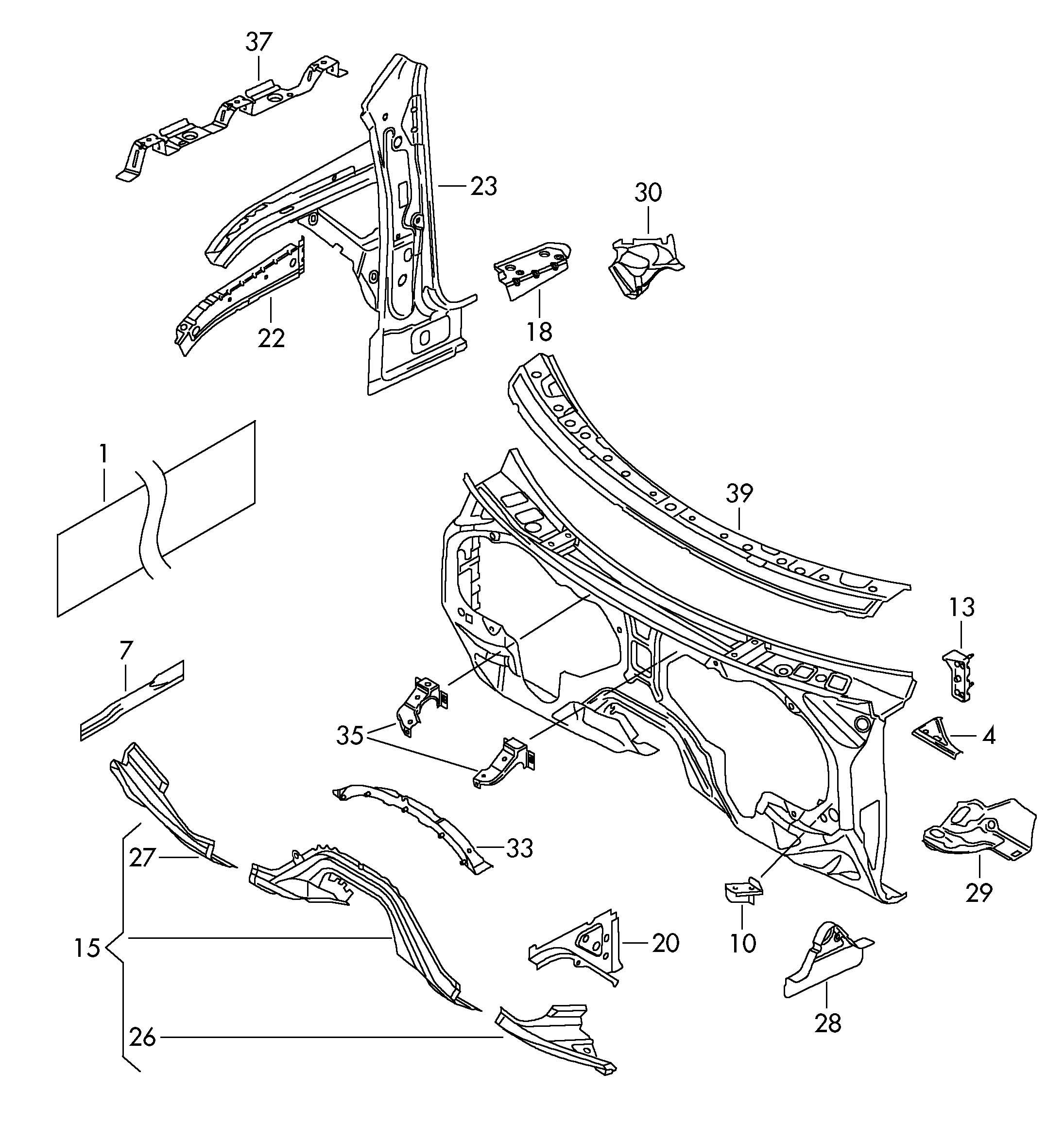 Volkswagen R32 Pillar a inner cross member for pedal plate