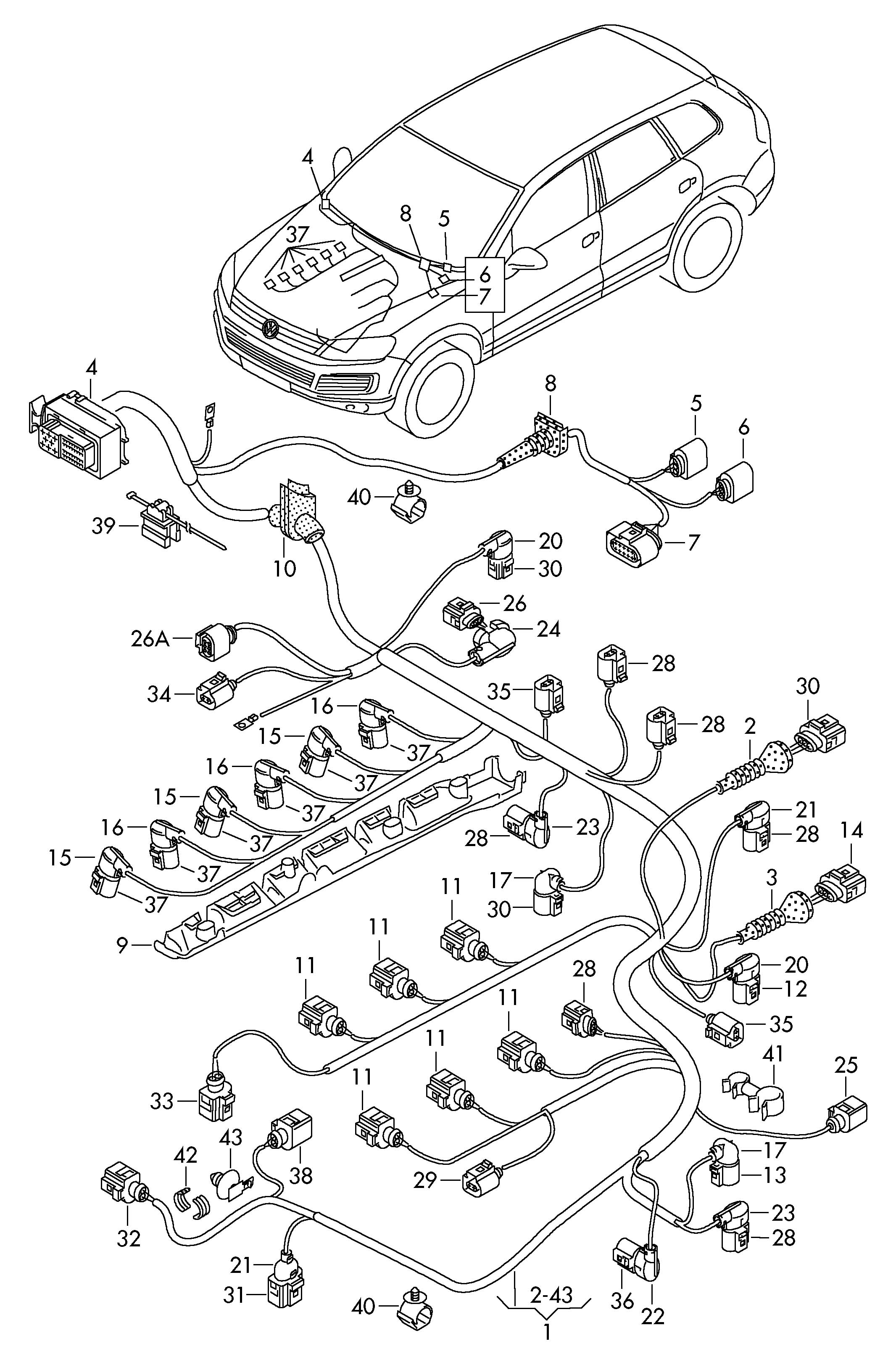 Volkswagen Touareg Harness for engine single parts