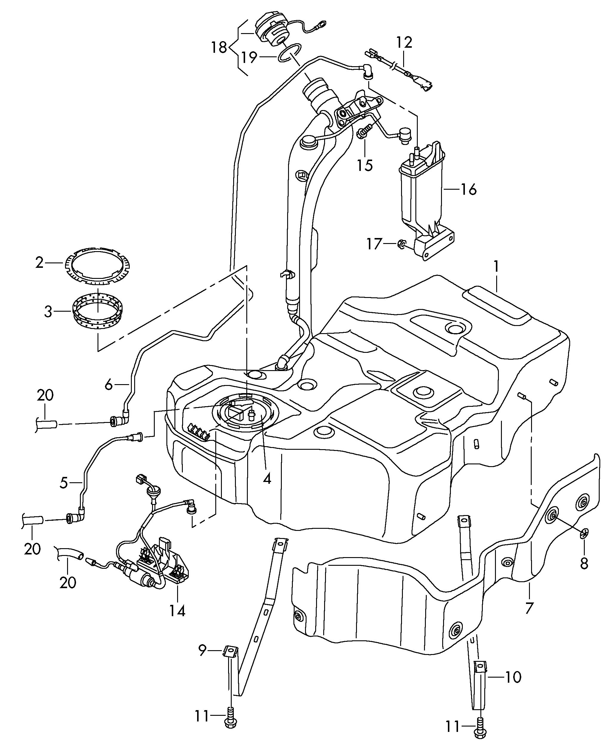 Volkswagen Passat CC Fuel tank with attached parts