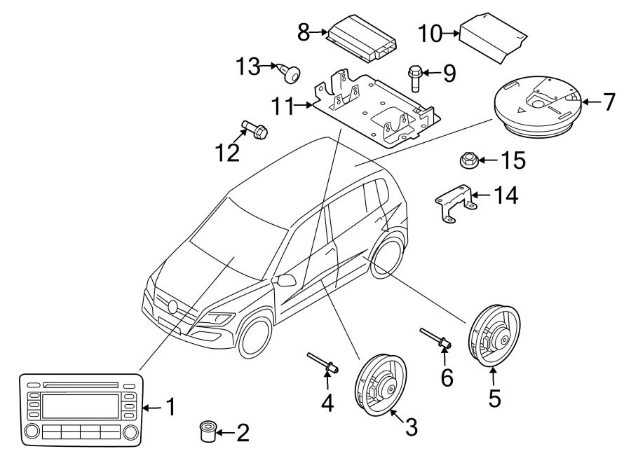 2012 Volkswagen Tiguan Speaker (Rear). W/o Dynaudio