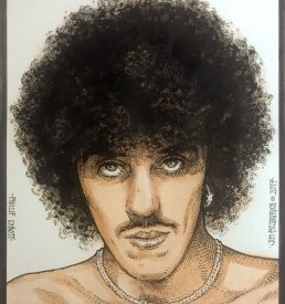 Philip Lynott, Thin Lizzy, Philip Lynott Portrait, Jim FitzPatrick Artist, Art, Watercolor portrait, Thin Lizzy Frontman