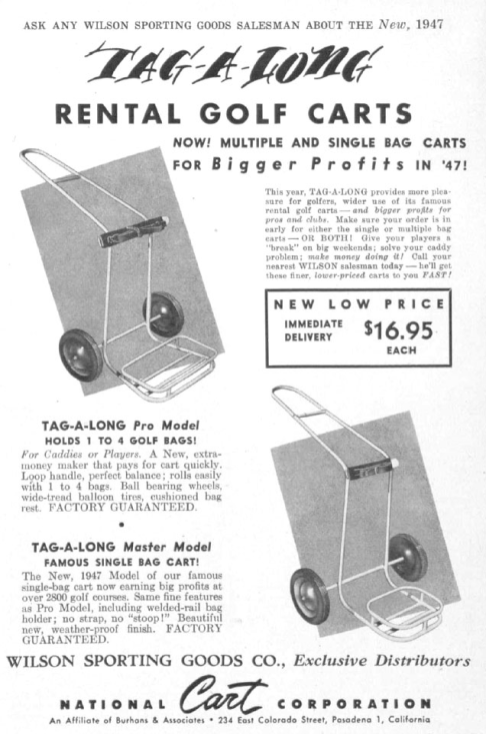 """TAG-A-LONG"" golf cart advertisement (April 1947)"