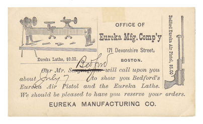 Eureka Manufacturing Company Business Card [2]