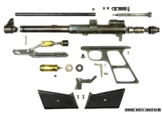 The Challenger Arms Plainsman pneumatic air pistol disassembled.