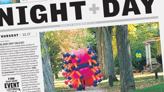 Preview article about Jimmy Kuehnle's inflatable suit performance in St. Louis by Paul Friswold in the Riverfront Times