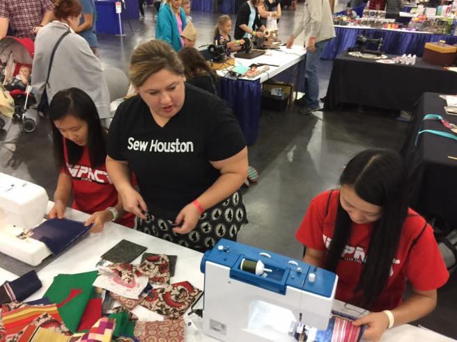 Robotics members learn to sew