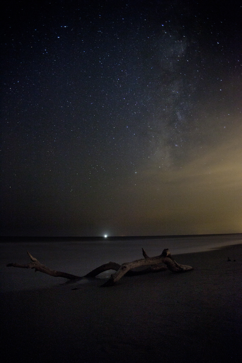 A shrimp boat under a (mostly) starry sky off the coast of South Carolina