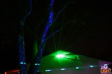 the BlissLight lighting up the tree, and the green laser
