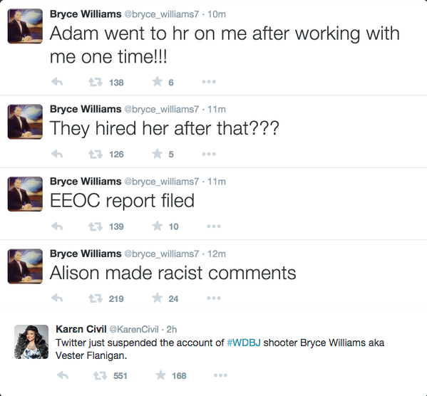 Bryce Williams' Twitter account before closing