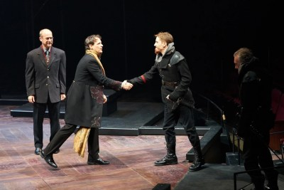Christopher Gerson, Jim Poulos, Harrison Farmer, Jerry Vogel - Hamlet by William Shakespeare presented by Repertory Theater of St. Louis on Oct 10, 2017. Photo: Peter Wochniak