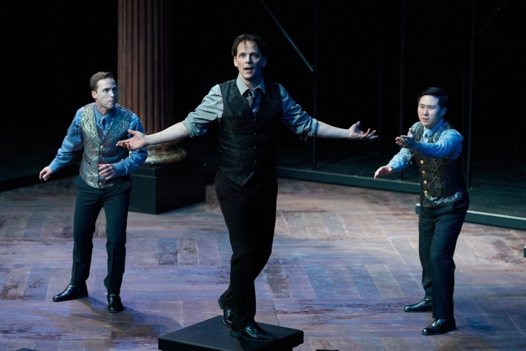 Ross Cowan, Jim Poulos, Stephen Hu - Hamlet by William Shakespeare presented by Repertory Theater of St. Louis on Oct 10, 2017. Photo: Peter Wochniak