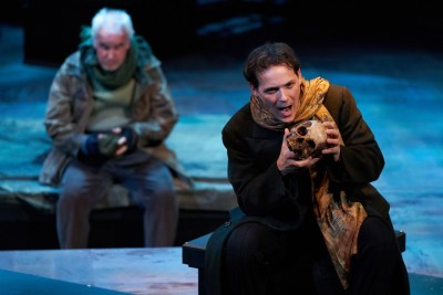 Jim Poulos, (background) Jonathan Gillard Daly - Hamlet by William Shakespeare presented by Repertory Theater of St. Louis on Oct 10, 2017. Photo: Peter Wochniak