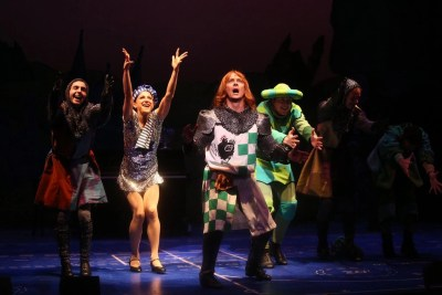 Frankie Paparone, Shannon Mullen, Jim Poulos, John Cummings, Jessica Azenberg - Spamalot at Geva Theatre Center, 2015 - Director: Melissa Rain Anderson, Scenic Design: James Morgan, Costume Design: Susan Branch Towne, Lighting Design: Brian J. Lilienthal, Photos: Ken Huth