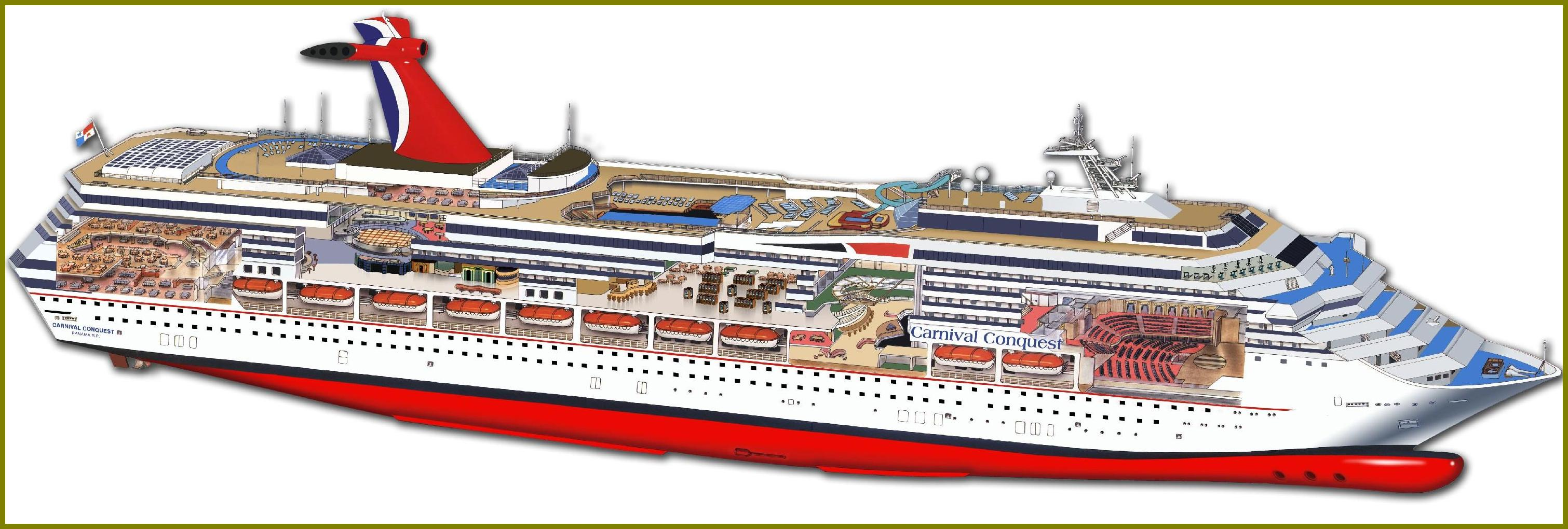 carnival cruise ship diagram dog skeleton labeled conquest review cabin 8455 resolution 3d cutaway of the