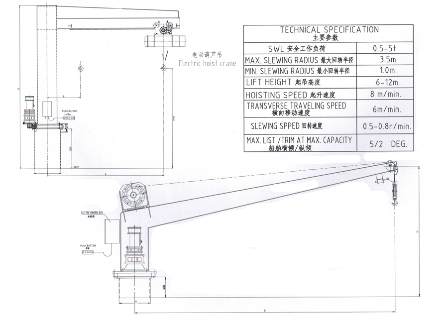 Electric Slewing Crane, Buy Marine Davit and crane from