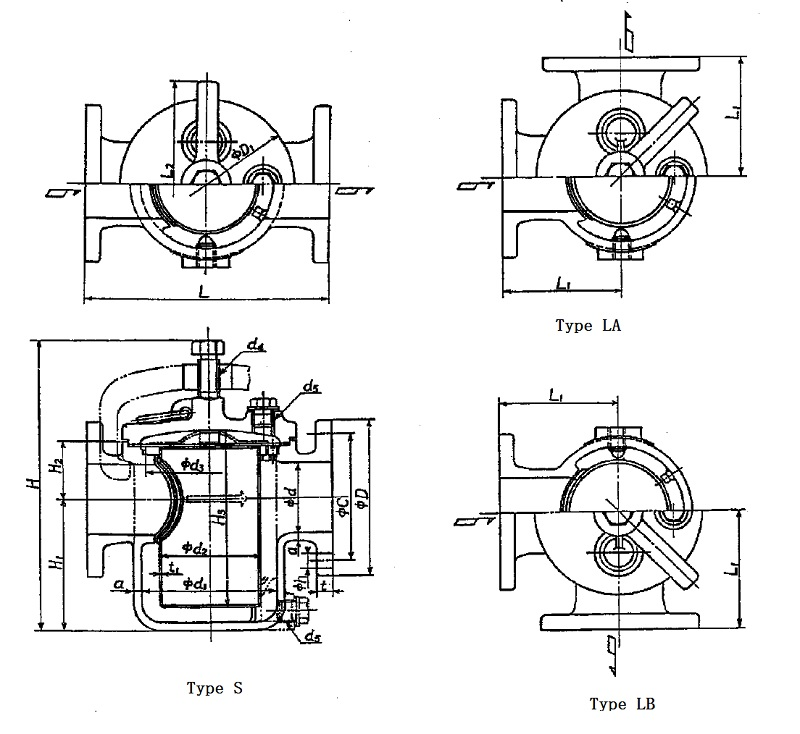 Marine Can Water Filter JIS 7121 S Type 5K (DN25-DN100