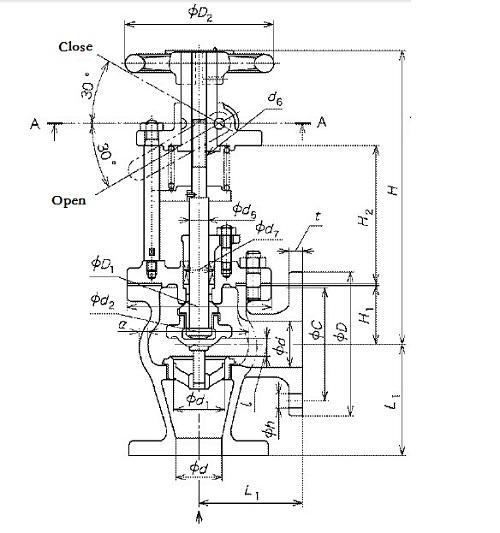 Marine Bronze Angle Emergency Shut-Off Valve JIS F7399 5K