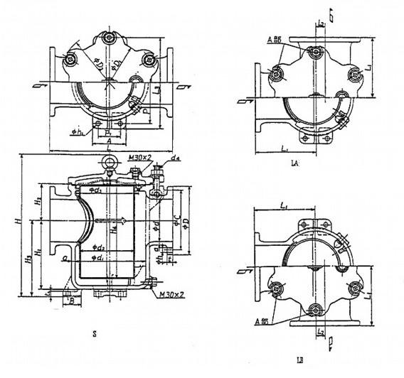 Marine Sea Water Strainer JIS F7121 S Type (DN125-DN400