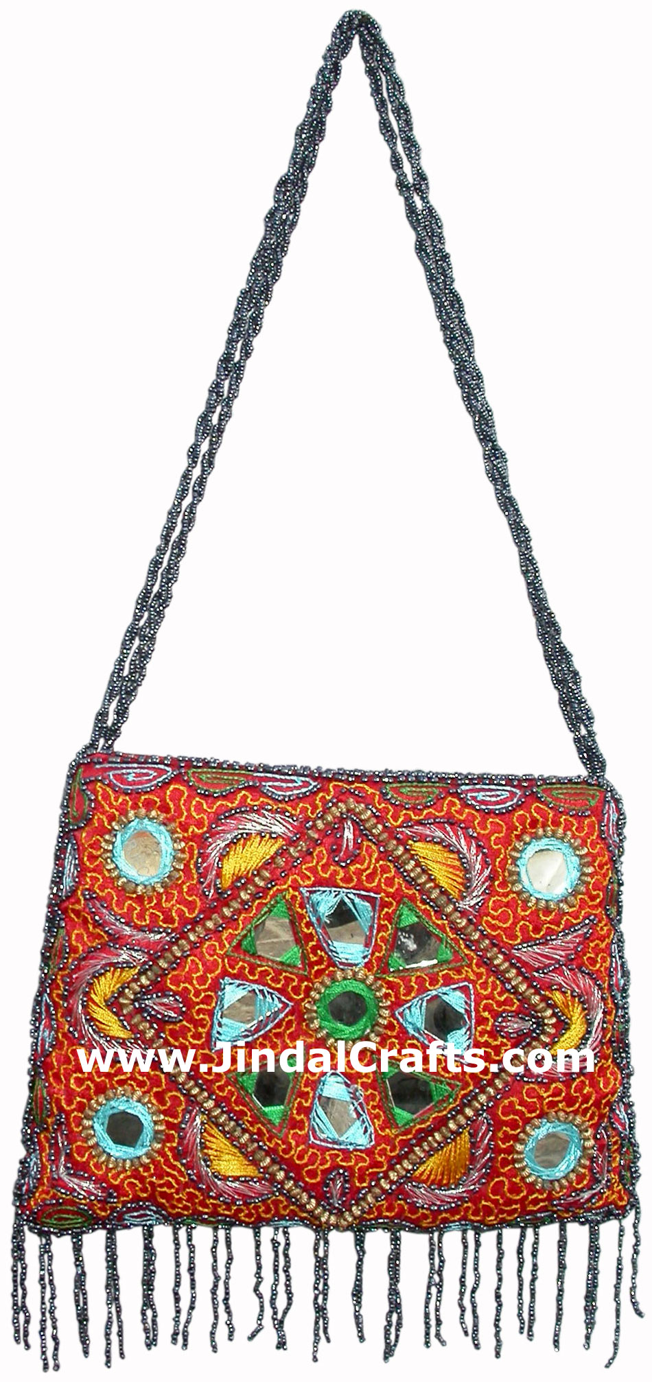 Hand Embroidered Beaded Traditional Shoulder Purse from India