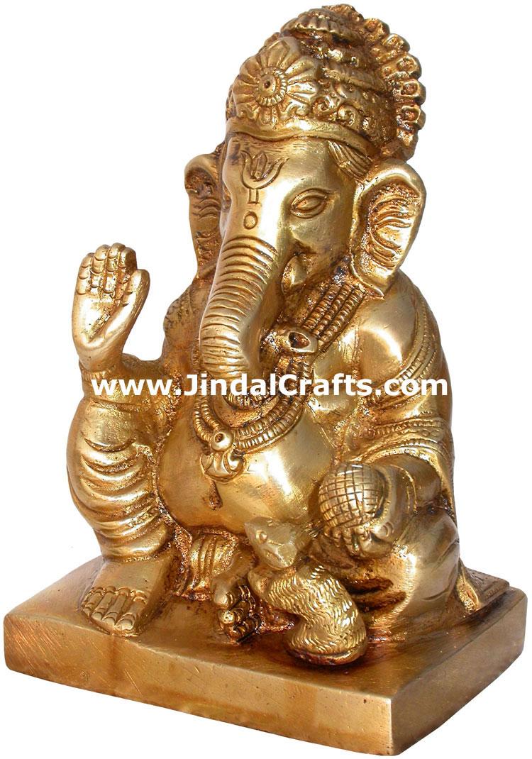 Brass Lord Ganesha India Artifacts Arts