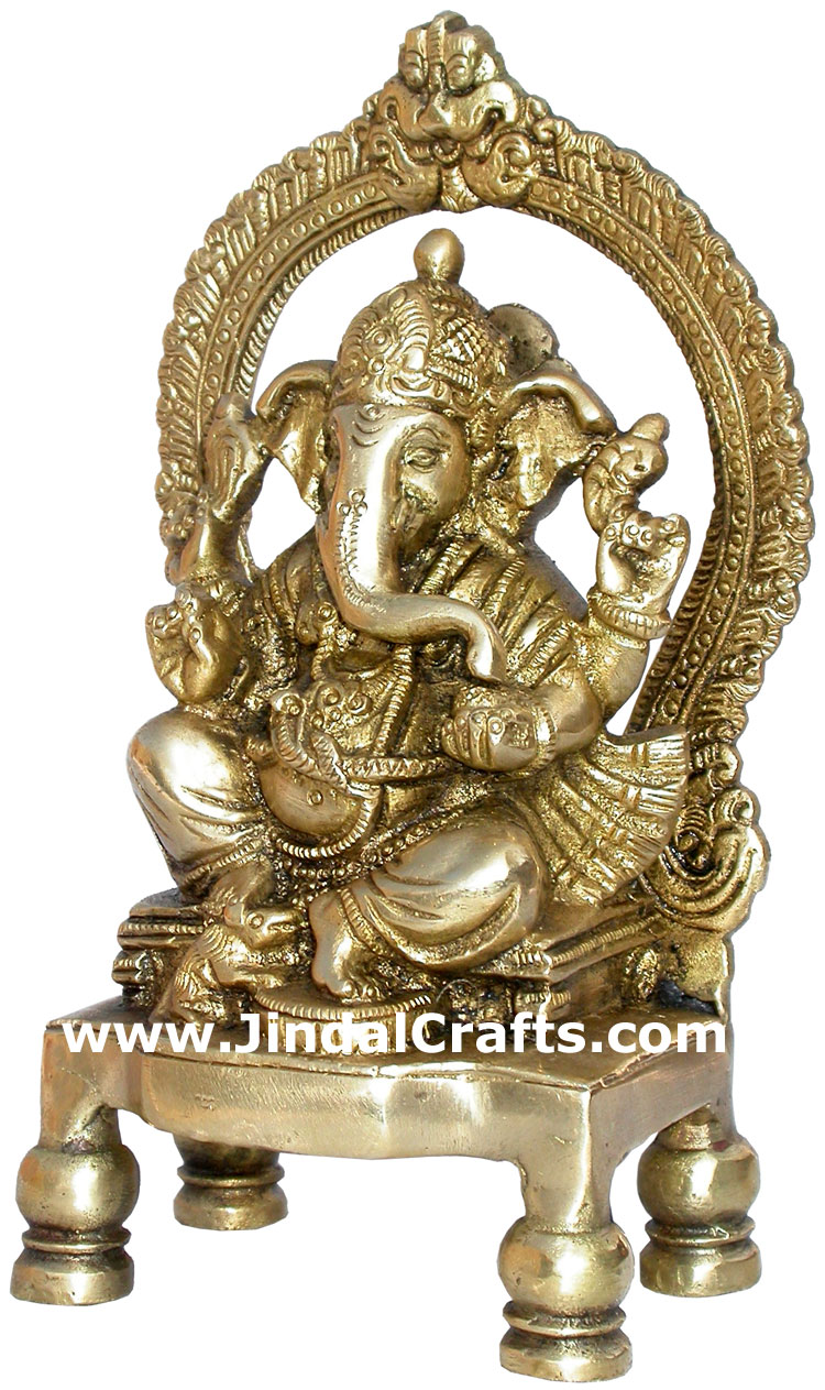 Ganesha Brass Figure Indian God Hindu Religious Arts