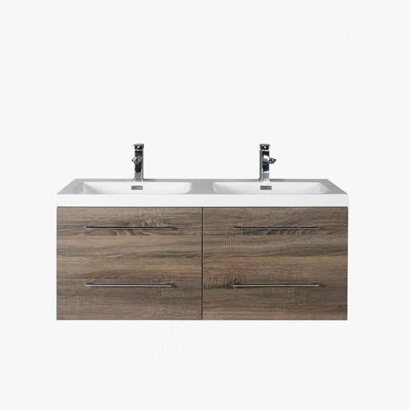 aquasun meuble salle de bain double vasque 120 cm gris avec 4 tiroirs