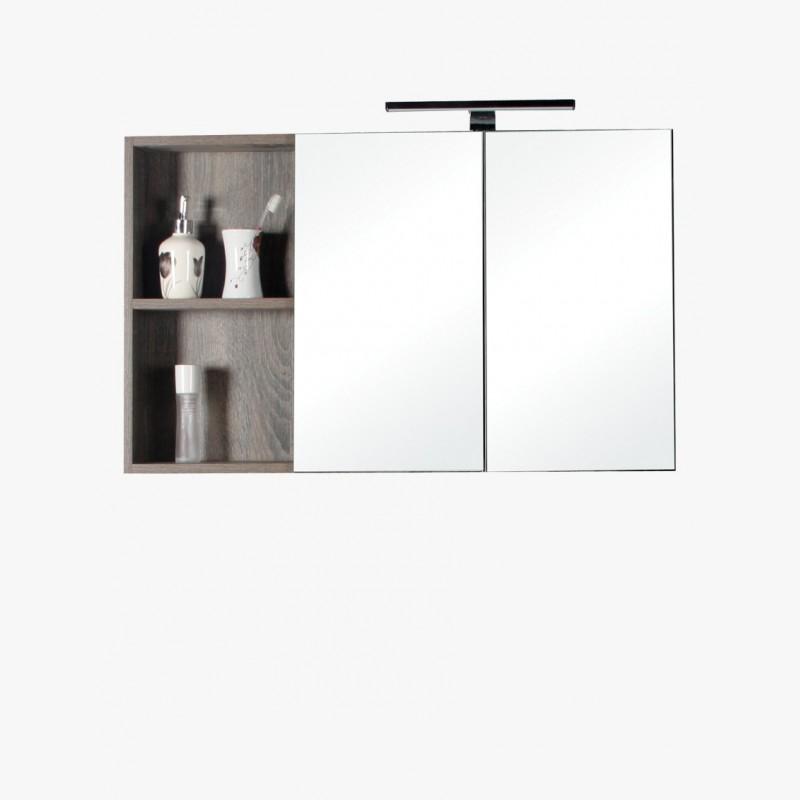 Aquasun Meuble Salle De Bain Haut Double Miroir Et Rangement Avec Led 90cm Gris