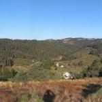 Výhled na krajinu ve Francii při Svatojakubské pouti