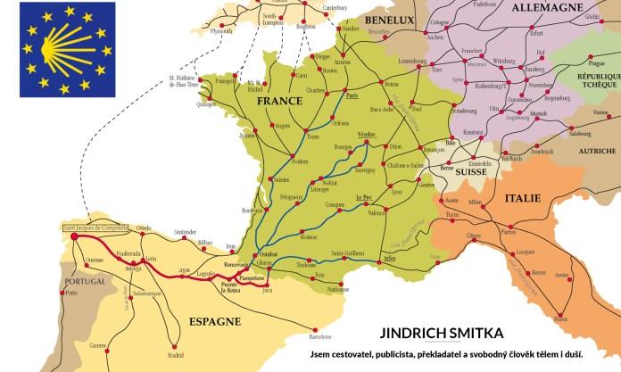 mapa evropských cest do Santiago de Compostela