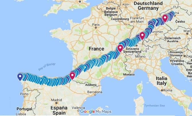 Poutní trasa z České republiky do města Santiago de Compostela