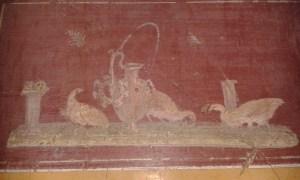 Freska ve městě Pompeje pohřbeném sopkou Vesuv