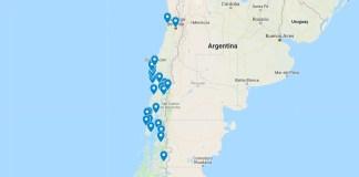 Mapa navštívených míst v Jižní Americe v Chile