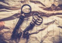 Klíč, papír, dopis, starý klíč, papír, cesta, řešení