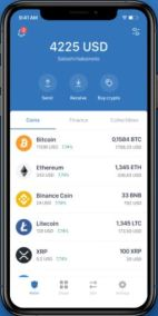Kryptoměna, kryptoměny, digitální měna, coin, token, peněženka, Trust Wallet, jak vypadá peněženka, zůstatek, Bitcoin, Ethereum, Binance Chain, BNB, ETH, BTC, Litecoin, LTC, Ripple, XRP.