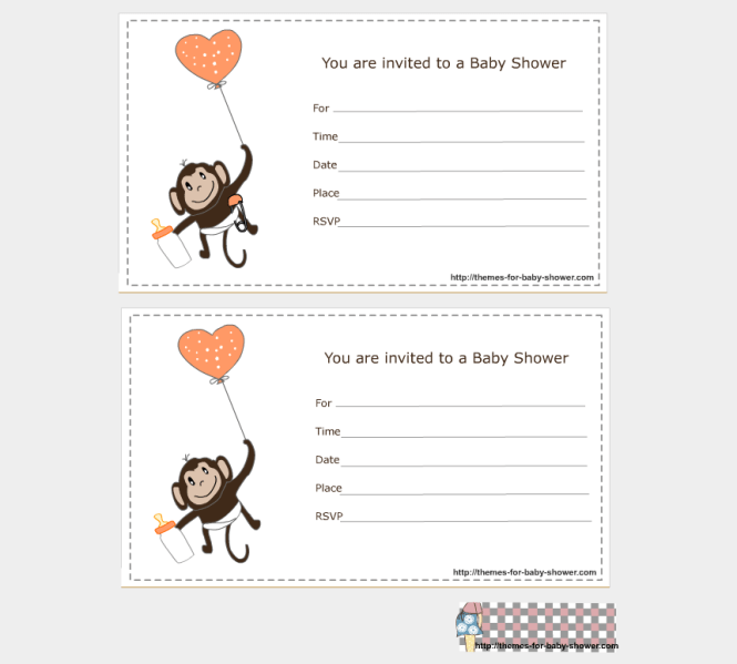 Cute Monkey Png Boy Free Template For Blank Baby Shower