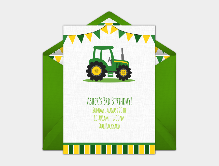 tractor themed birthday invitations