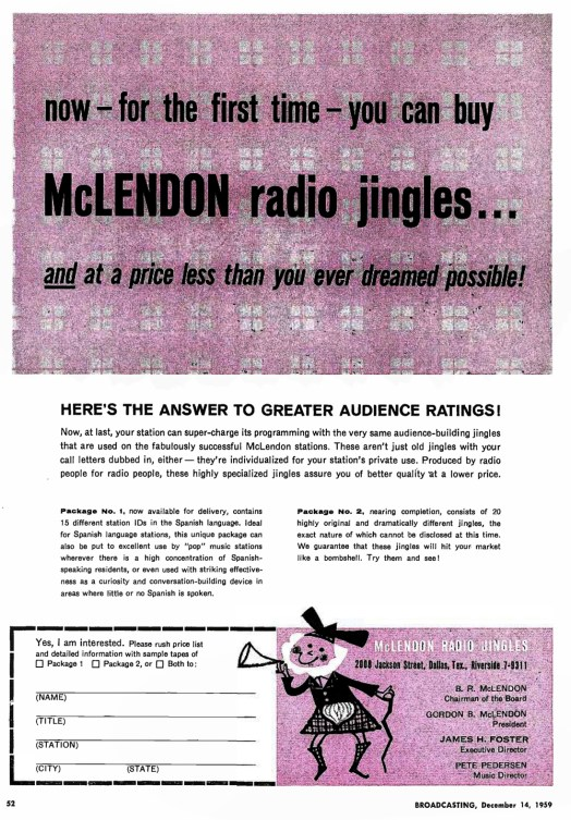 McLendon jingles - Advertentie 12.14.1959