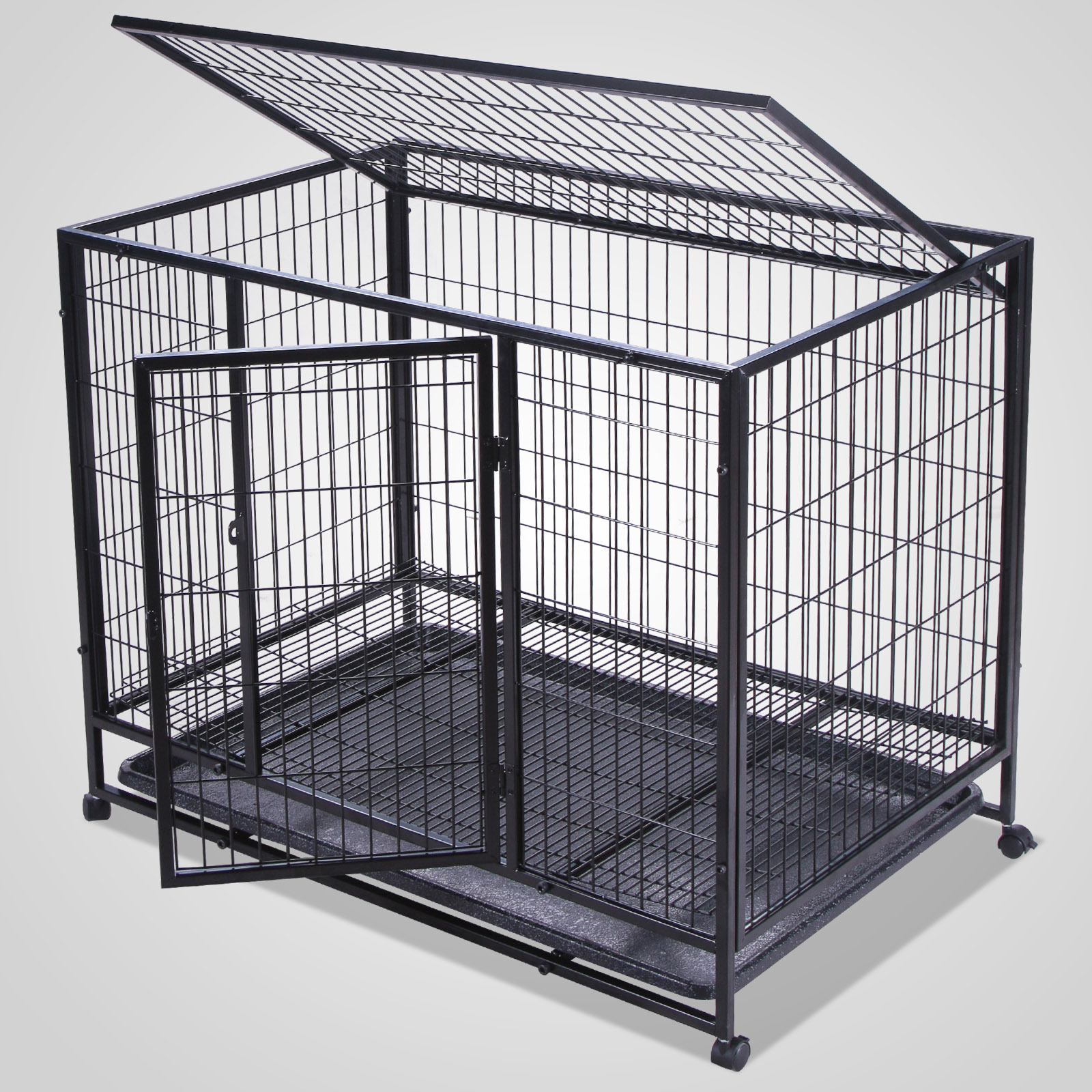 Black Dog Cage Crate Suitcase Folding Animal Kennel Pet