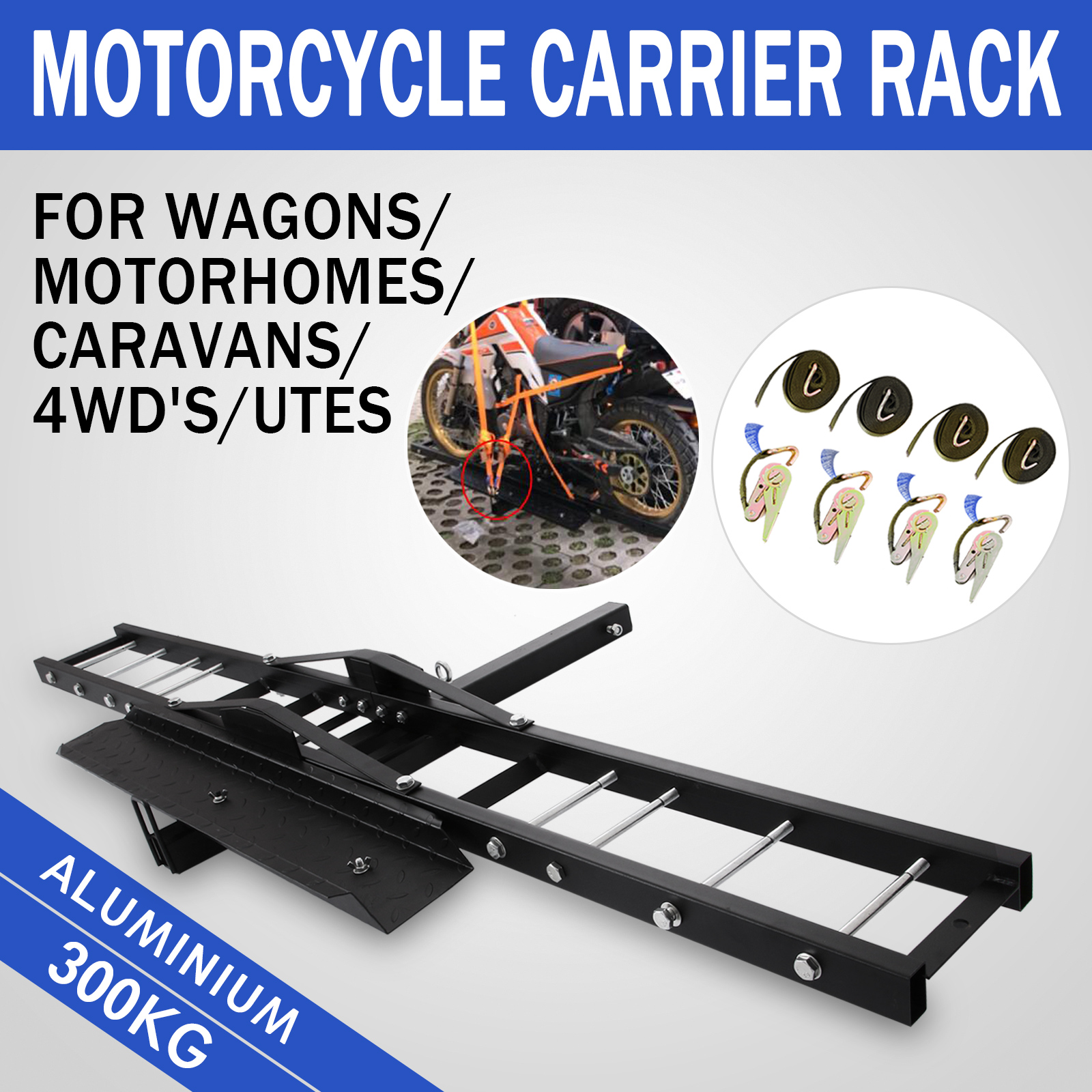 hight resolution of details about 300kg motorcycle carrier hauler hitch mount rack scooter tow bar steel hot