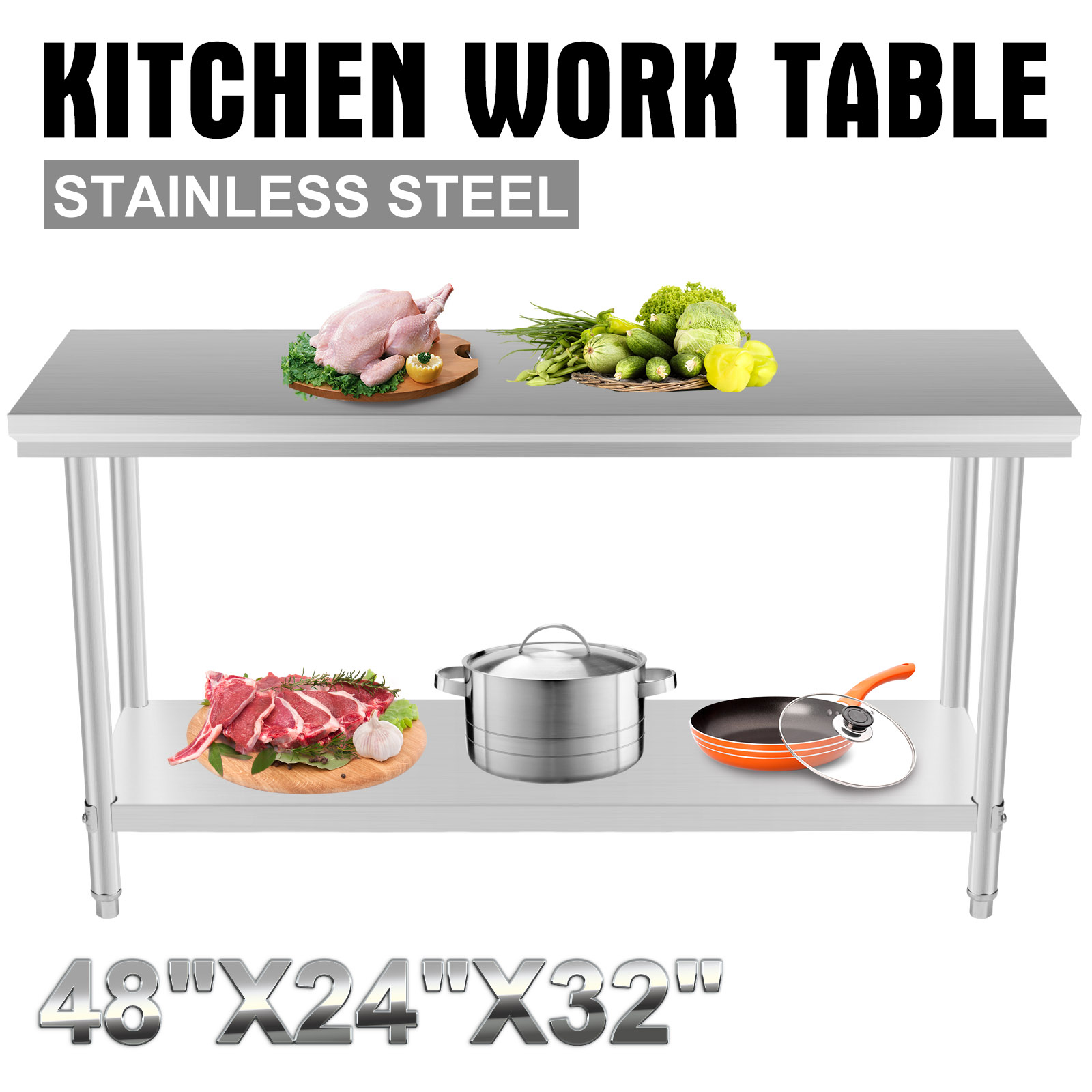 kitchen food preparation table bridge faucet stainless steel commercial work prep
